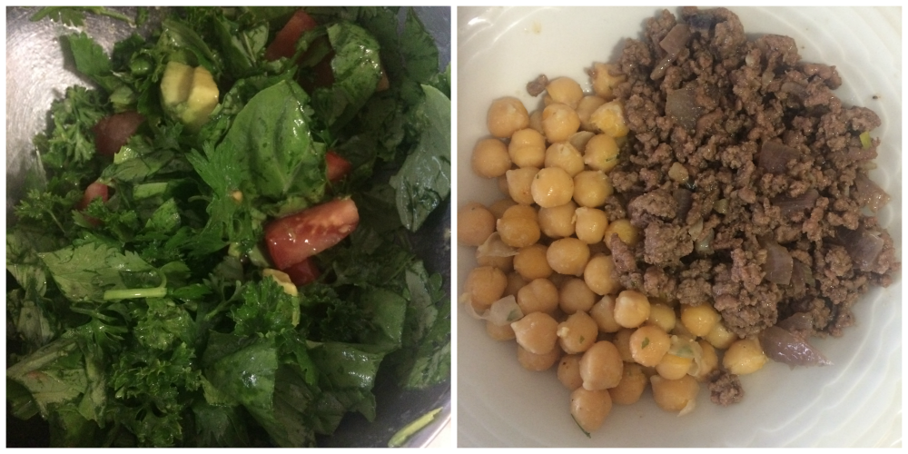 Organic ground beef with garlic onions and spices Organic garbanzo beans with butter and garlic sea salt (got lazy on that one) And a fresh herb salad! Never done this before but it's mega mouth party goodness!  Fresh organic basil, cilantro, parsley, tomato and avocado, lemon and olive oil, salt and pepper.