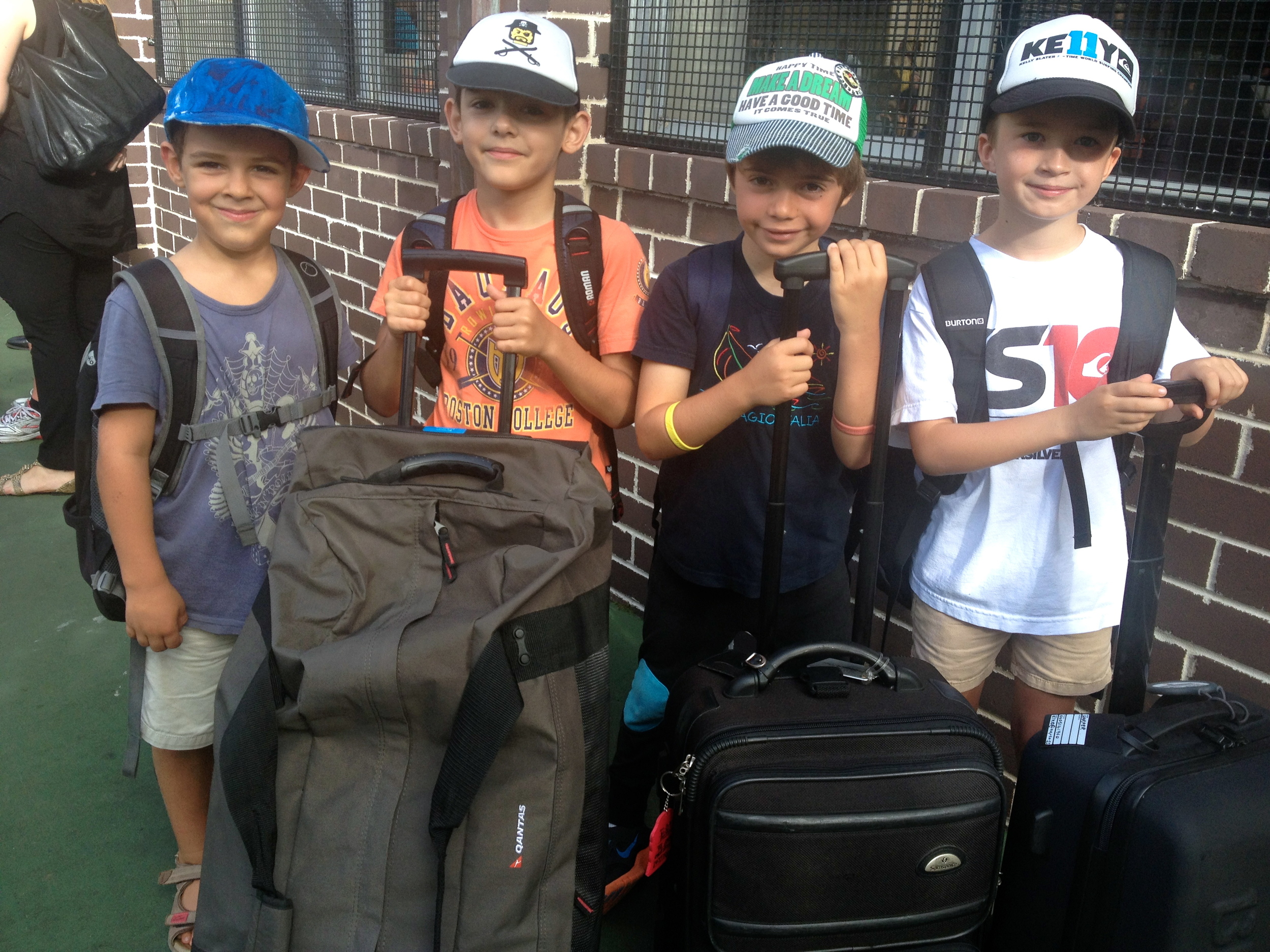 Wil (far left) and his friends excited to leave for their first camp