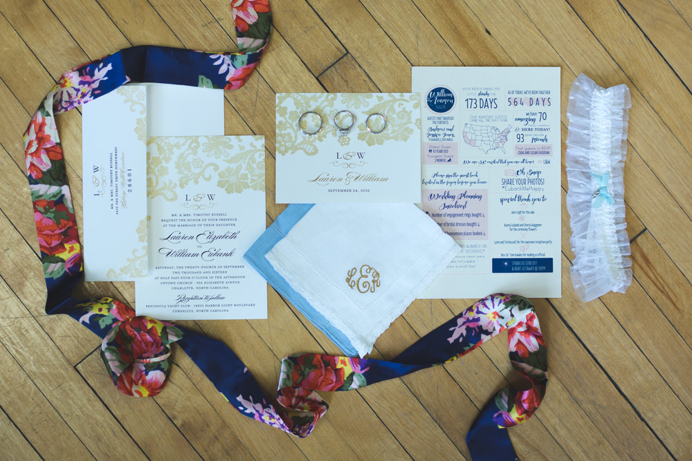 Gold Navy Invitation Suite Jon Courville Photography