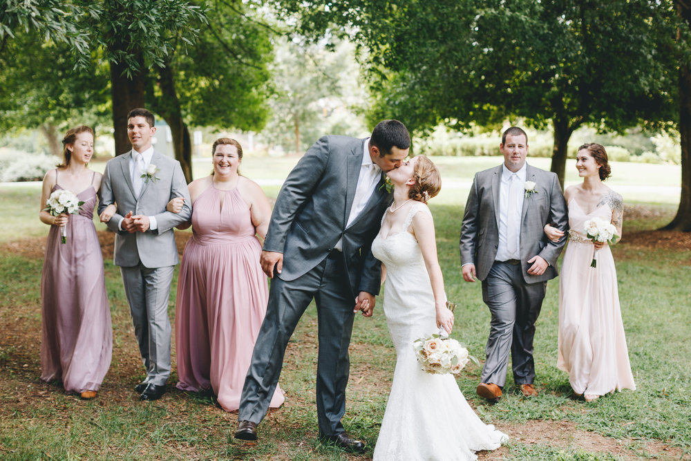 Walking wedding party portraits