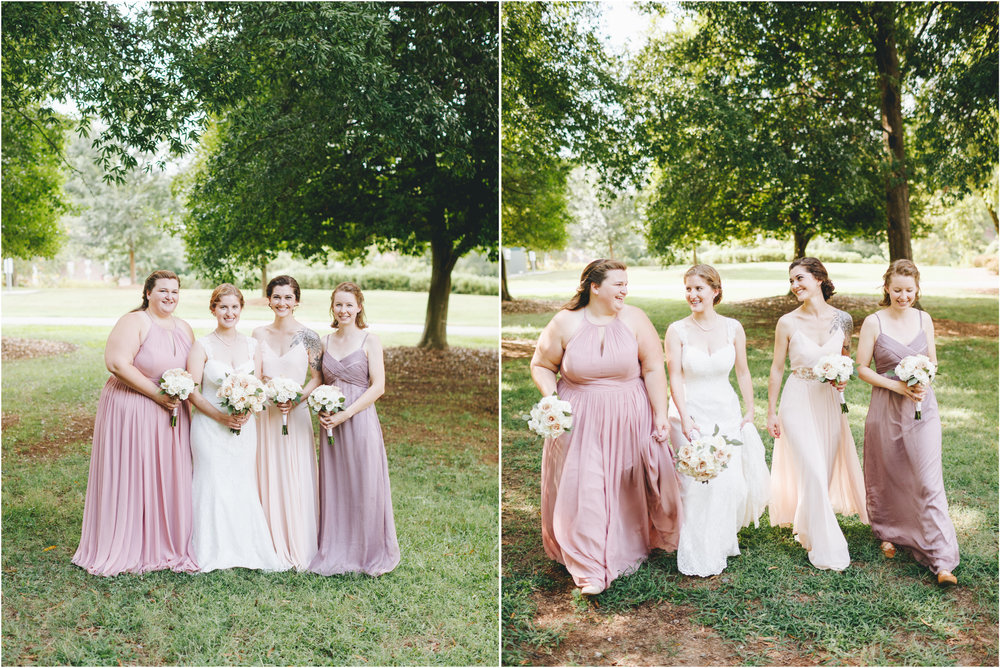 blush and violet bridal party