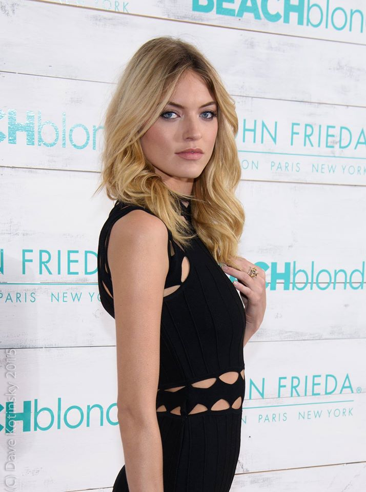 Model Martha Hunt attends the John Frieda Hair Care Beach Blonde Collection Party at the Garage