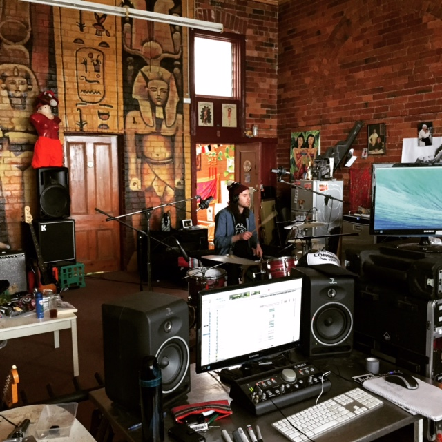 Jamie in pre-production for new single 'Archipelago Heart' at 'The Tomb' in Coburg.