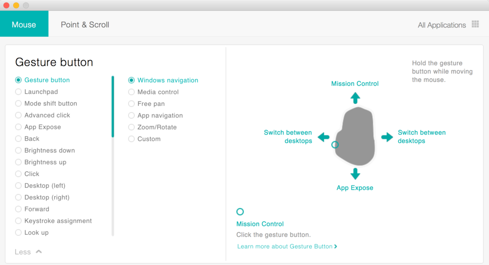 Gesure Pad Customisation within Logitech Options Software - Click to expand