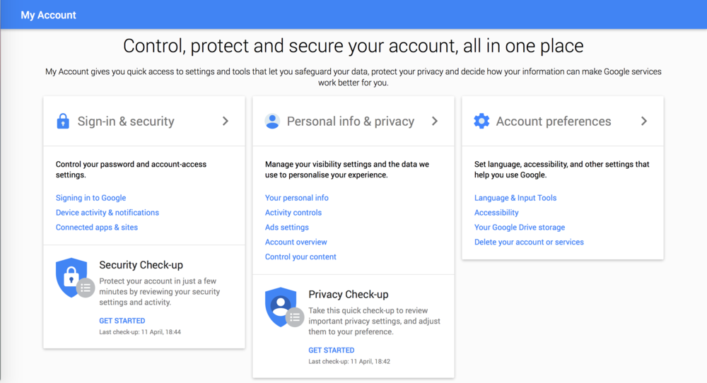 Google Accounts Homepage