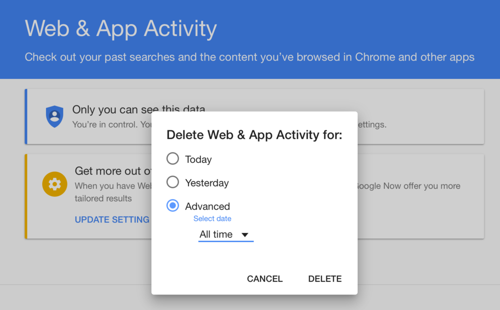 Delete Web & App Activity for All Time