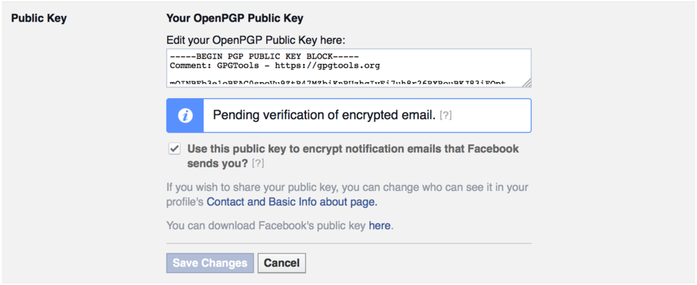 Public Key for Facebook PGP