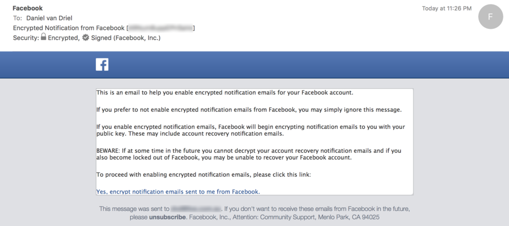 Email Sent by Facebook Confirming You Can Decrypt Their Message