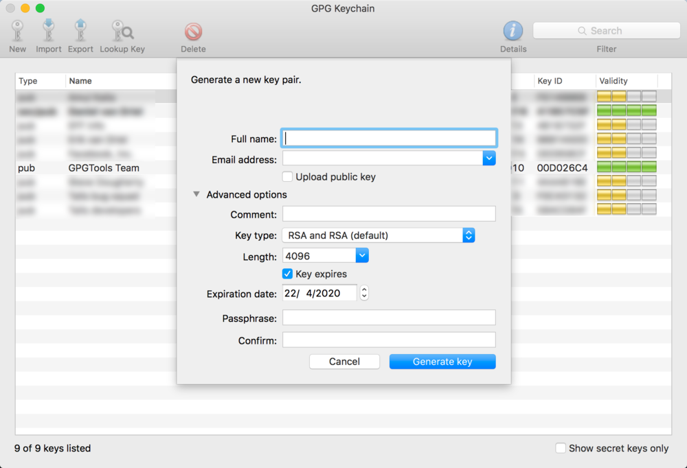 Generate Key Pairs in GPGTools for Mac