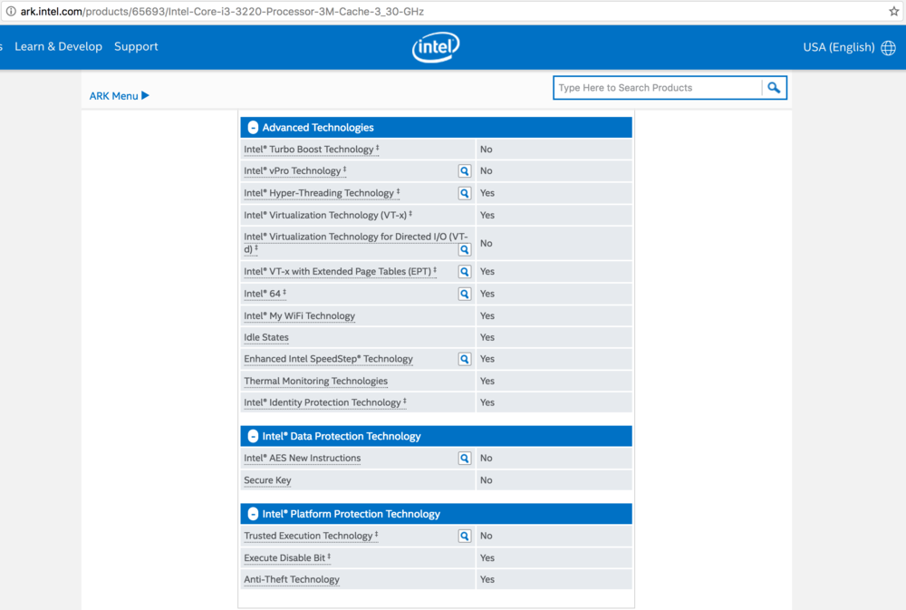 Checking Intel i3-3220 processor for AES-NI Encryption Hardware Acceleration