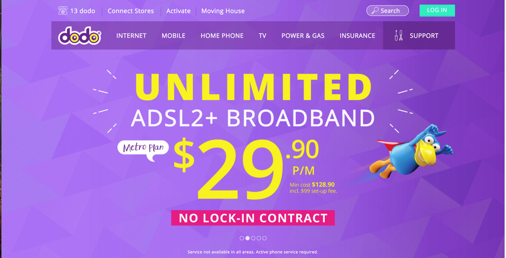 The Banner Dodo uses to advertise its Unlimited ADSL2+ Broadband