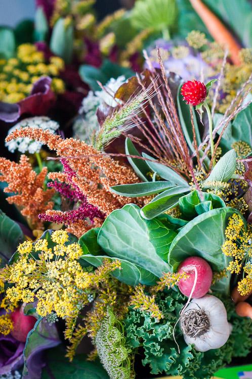 Floriography veggie+floral design