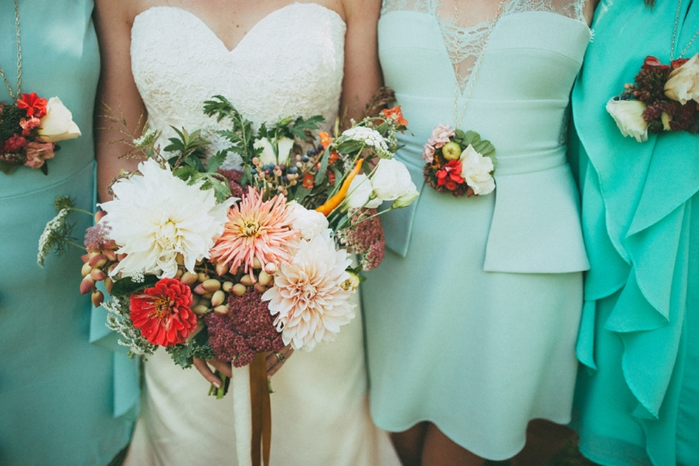 Floriography wedding florals with veggies and herbs