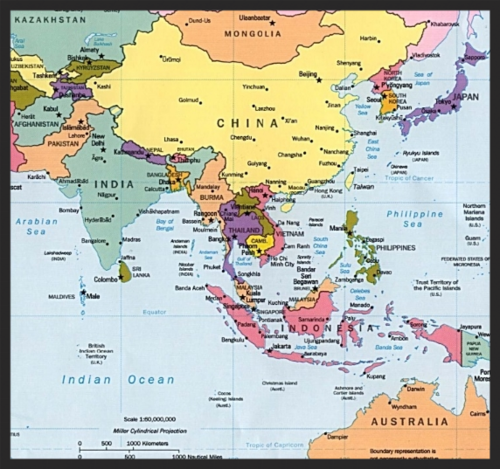 a map of the region of south asia where sato would like to focus their