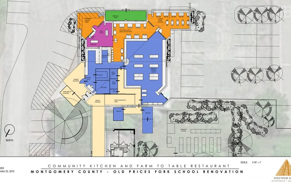 One of the original plans for the Old School Center. Image taken from New River Valley Regional Commission website. Please read for more information: https://nrvrc.org/old-prices-fork-school-comprehensive-community-revitalization-project/