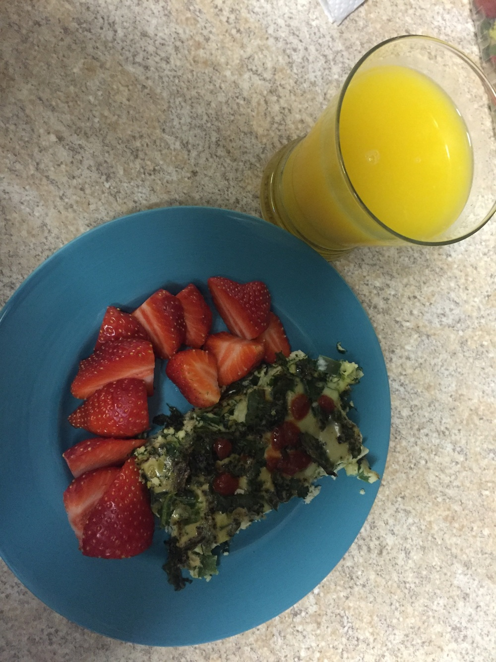 I made an egg, kale, spinach and green peppers casserole for breakfast.   The OJ isn't mine; it's not part of the plan. I eat the fruit with my eggs or in my oatmeal.