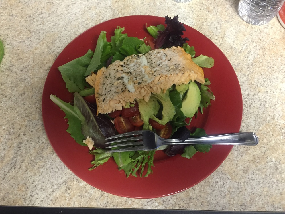 Then it's leafy greens topped with salmon for lunch or dinner...depending on my mood.