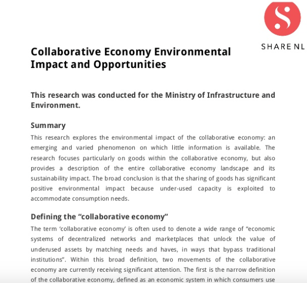 Research Report on Collaborative Economy Environmental Impact and Opportunities