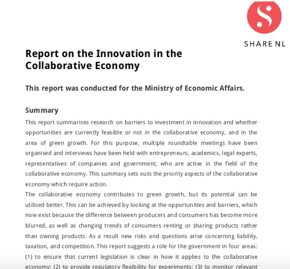 Research Report on the Innovation in the Collaborative Economy