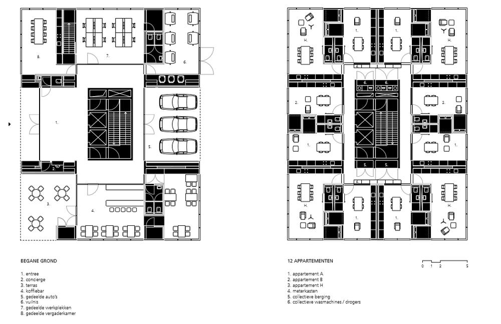 Plattegrond: Multifunctionele ruimten begane grond Holon House.© OJO/ Office Jarrik Ouburg en FreyH.