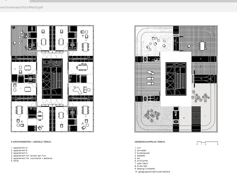 Plattegrond: Gemeenschappelijke dakterrassen Holon House.© OJO/ Office Jarrik Ouburg en FreyH.
