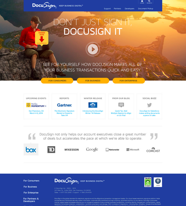 DocuSign: Site Design & Copy