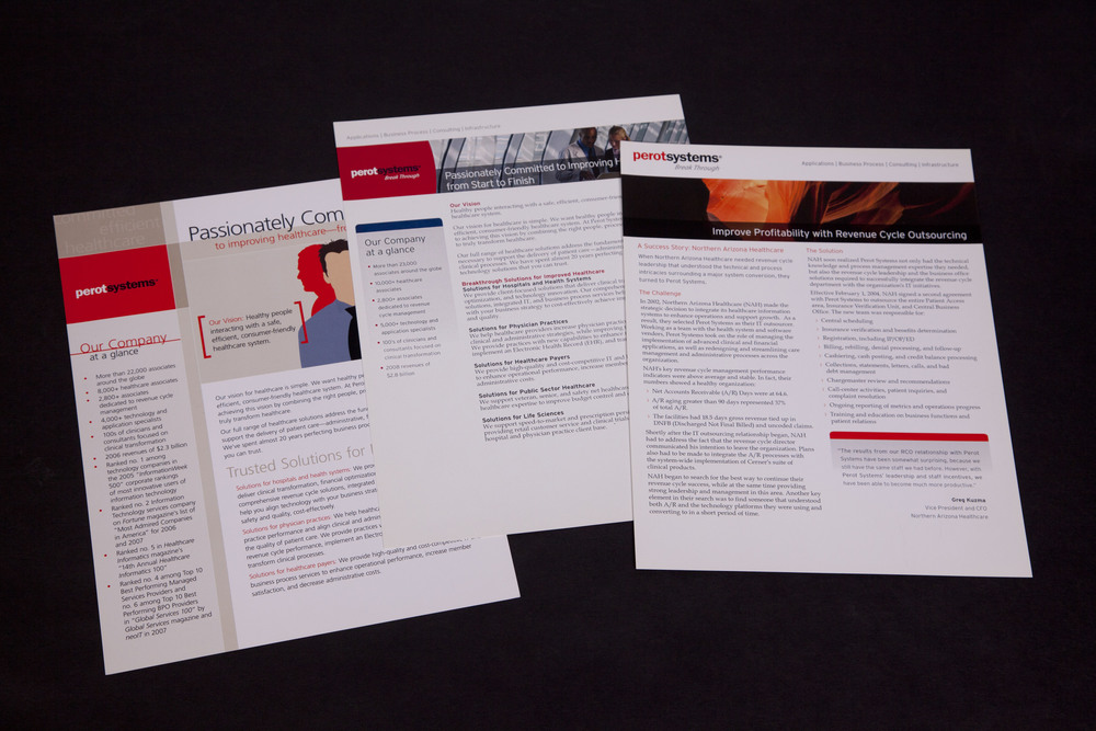 One page collateral design transition over 4 years