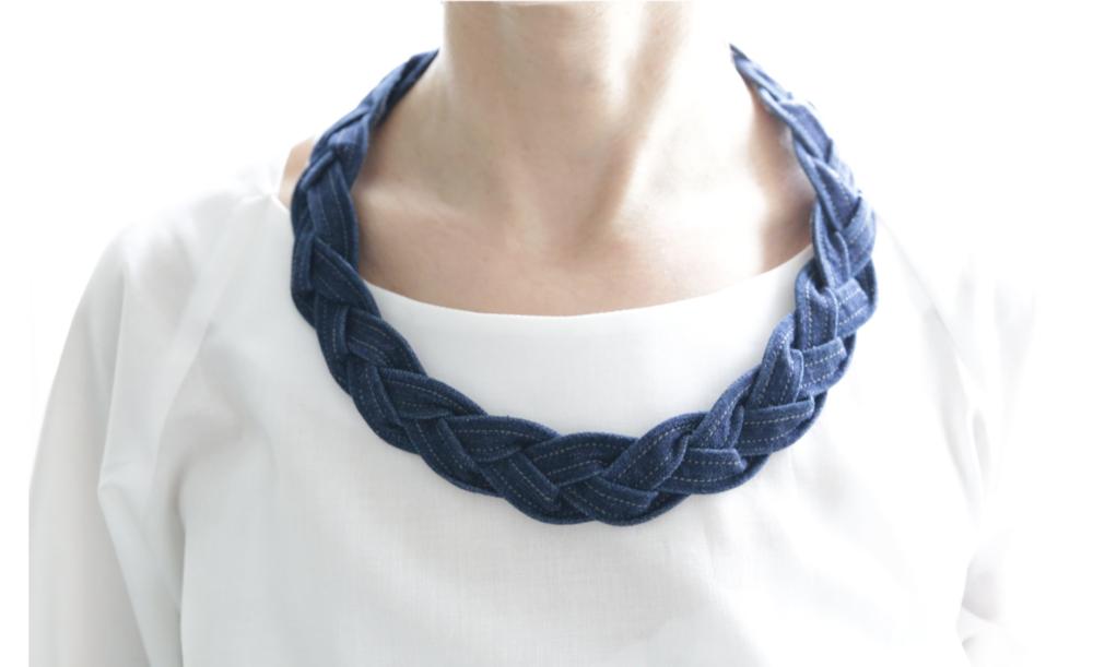 Plait Necklace  Plait necklace is made of stretch cotton denim.