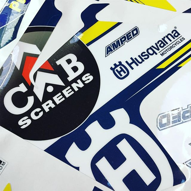 A small preview of Cab Screen @husqvarna1903 graphics being pumped out the machines ahead of next week's photoshoot #husqvarna #mx #motocross #moto