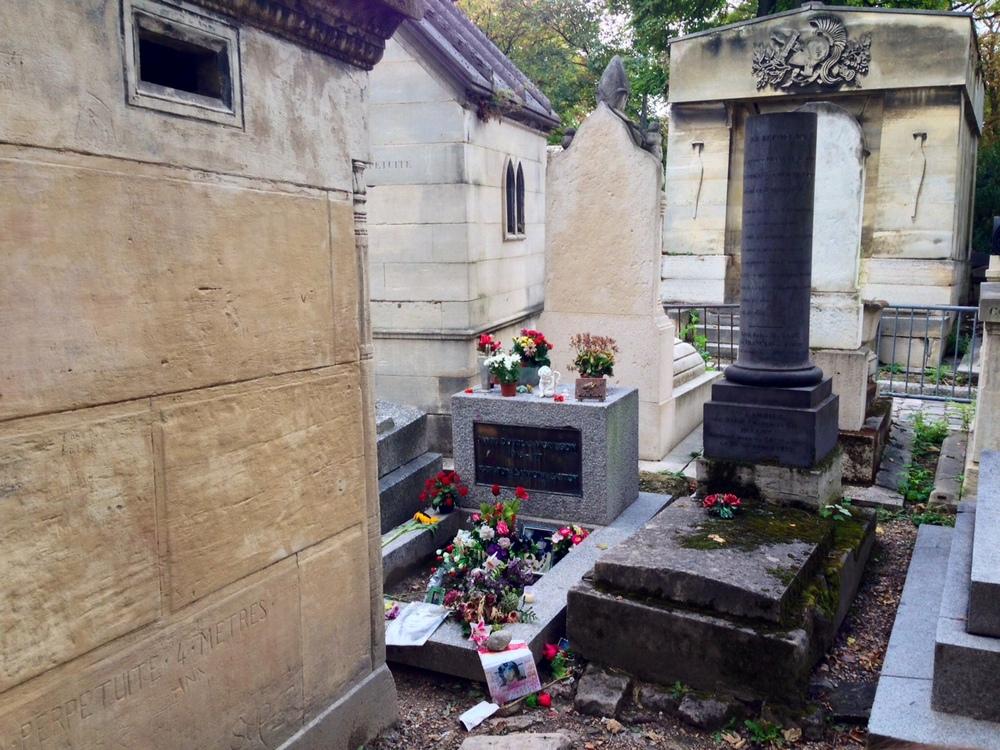 Het graf van Jim Morrison, op Père Lachaise