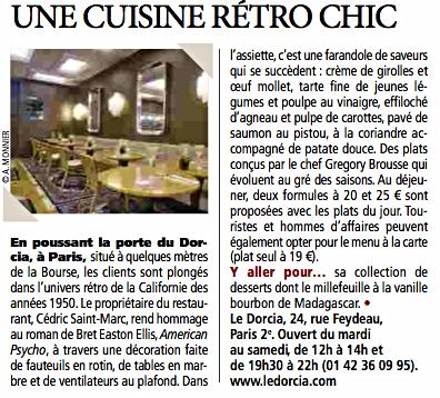 Le Dorcia: une Cuisine Rétro Chic (Direct Matin, p. 15)