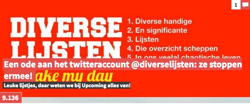Op Upcoming: Een ode aan het twitteraccount @diverselijsten: ze stoppen ermee!
