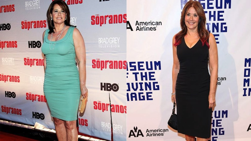 Left, actress Lorraine Bracco attends the HBO premiere of The Sopranos at Radio City Music Hall in this March 27, 2007, file photo. Right; Lorraine Bracco attends the Museum Of Moving Image Salutes Hugh Jackman on Dec. 11, 2012.    Evan Agostini/Getty Images| Rob Kim/FilmMagic