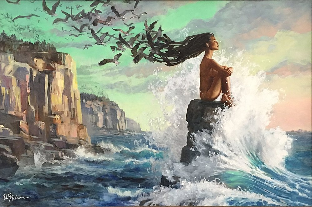 - Guardian of the Eastern Doorby Winona NelsonVisual metaphor for the profesiedOjibwe migration: a woman defiantly faces the waves of the future.