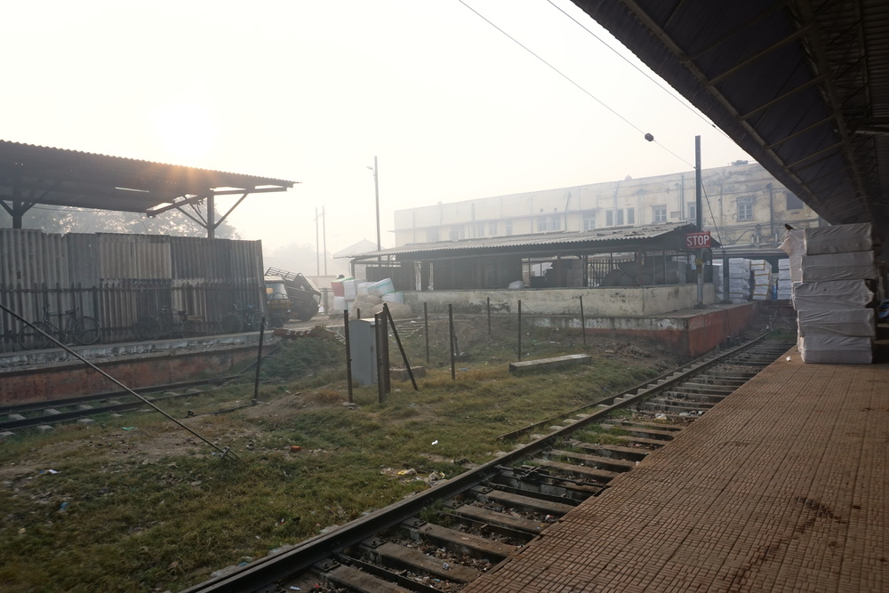 Agra train station. Just around the corner were camps of homeless families.