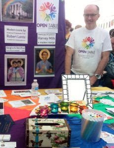 Richard on the Open Table community stall at Liverpool Pride