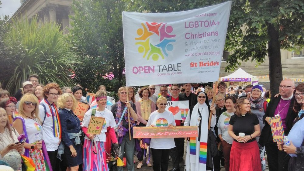 Bishop Paul (right) with members of Open Table and friends after the 2017 Liverpool Pride march