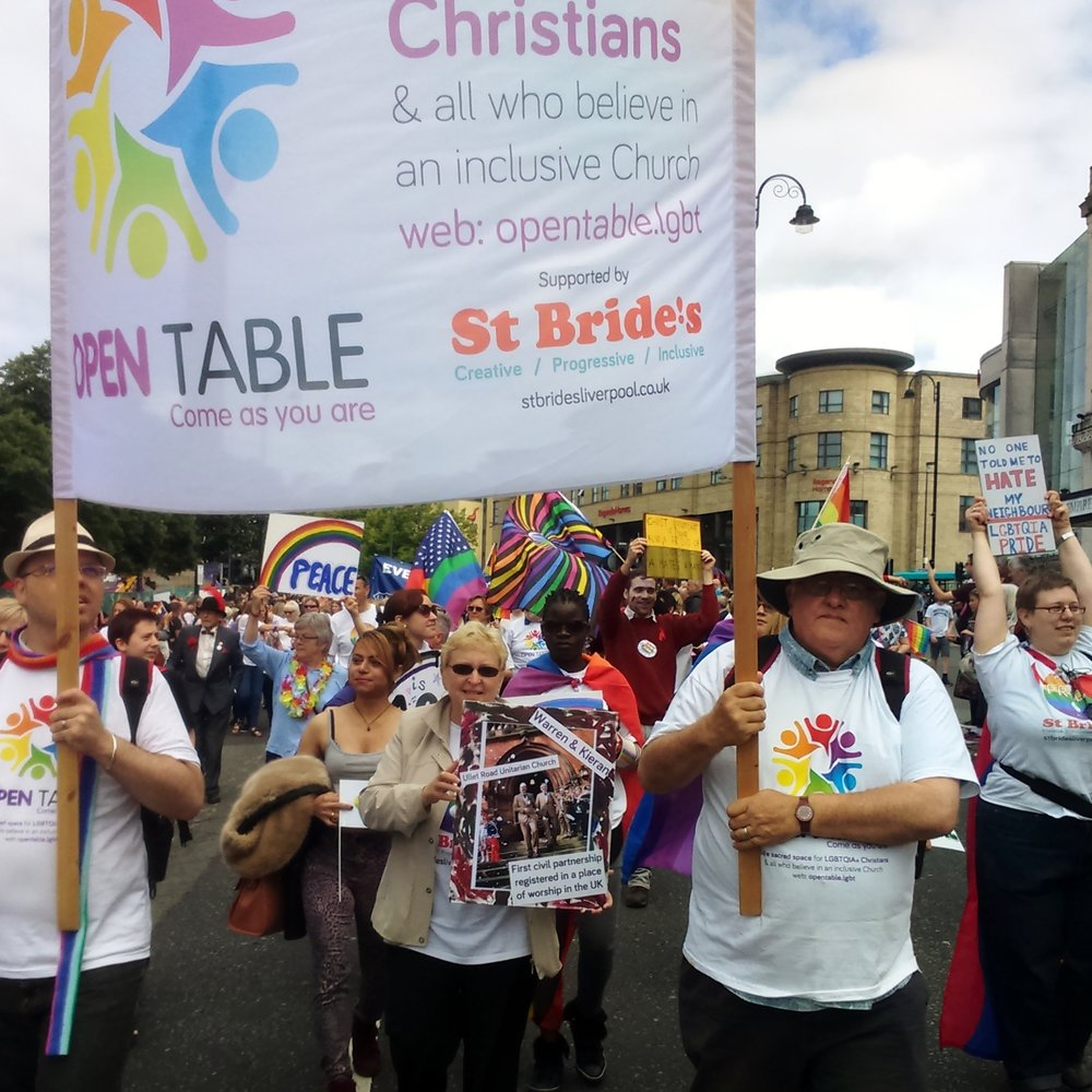The Open Table group marching at Liverpool Pride  inspired Claire to 'come as you are'
