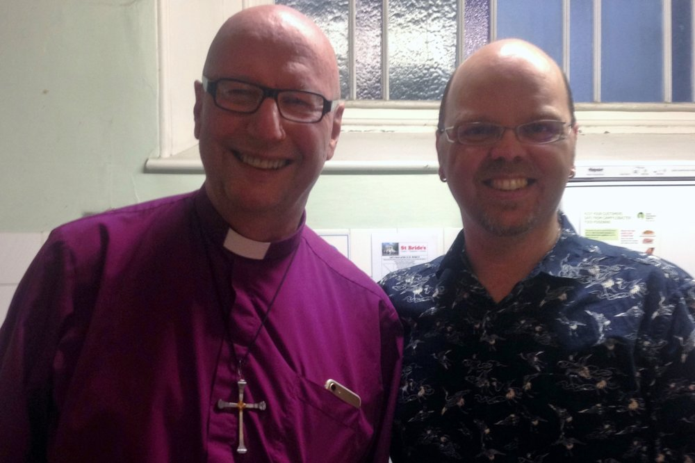 Bishop of Liverpool Paul Bayes with Open Table ministry facilitator Warren Hartley
