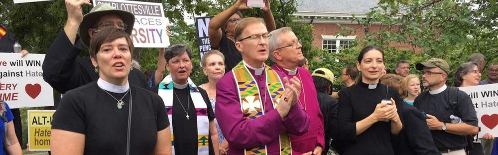 Bishop Shannon of Virginia with clergy colleagues protesting against white supremacist violence in Charlottesville, August 2017. PHOTO: Diocese of Virginia