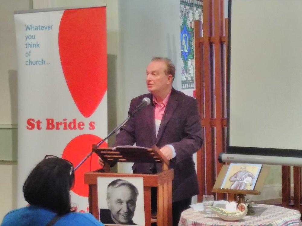 Fr Mychal Judge's biographer, journalist Michael Ford, speaking at St Bride's Liverpool, September 11, 2017