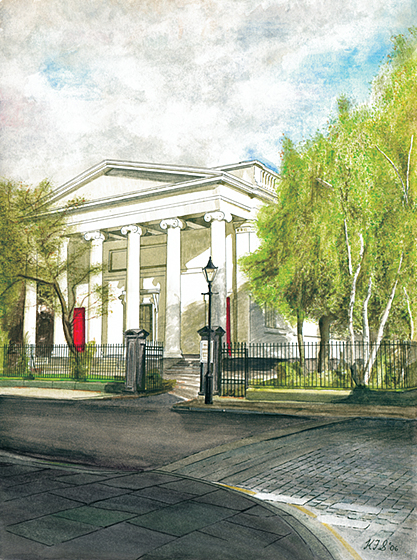Original watercolour of St Bride's, Percy Street, by Keith F. Smith