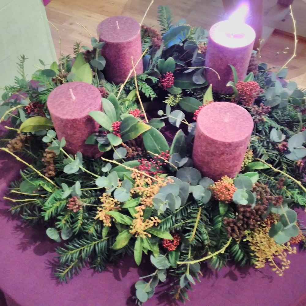 Our Advent Wreath complete with four Fair Trade candles