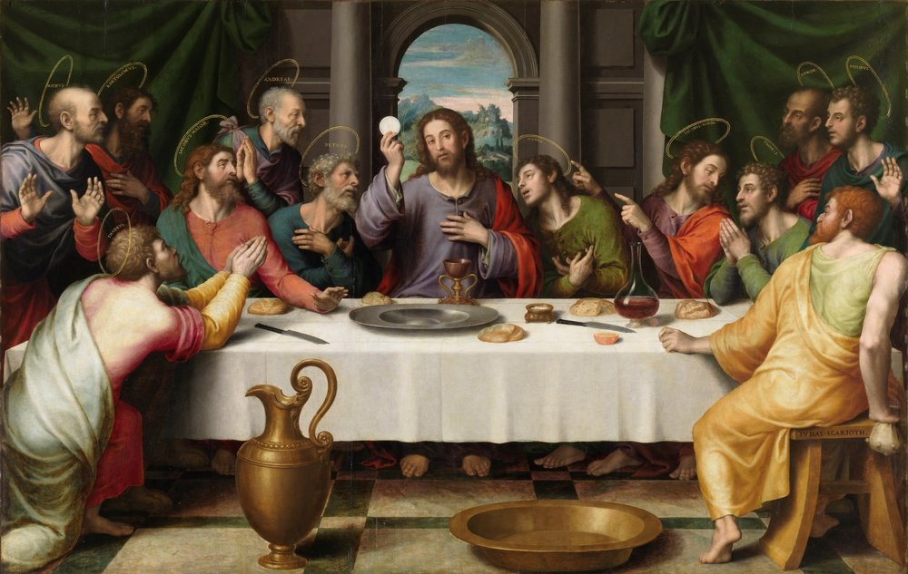 Jesus with the Eucharist at the Last Supper  by Juan de Juanes, mid-late 16th century