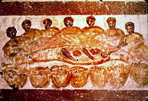 Fish included as part of Communion - Priscilla Catacomb, Rome