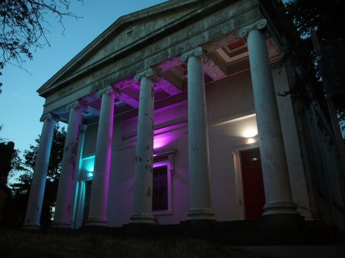 St Bride's is lighting up with the colours of the trans flag from Thursday 19th July to Thursday 2nd august - the anniversary of Michael Causer's death