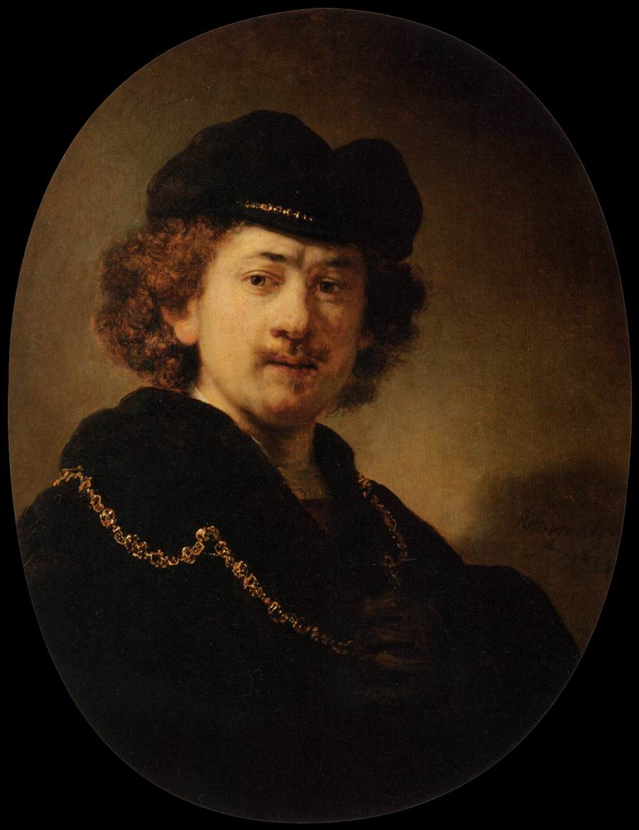 Rembrandt Self Portrait with Hat and Gold Chain, copy by C.A. Cumming