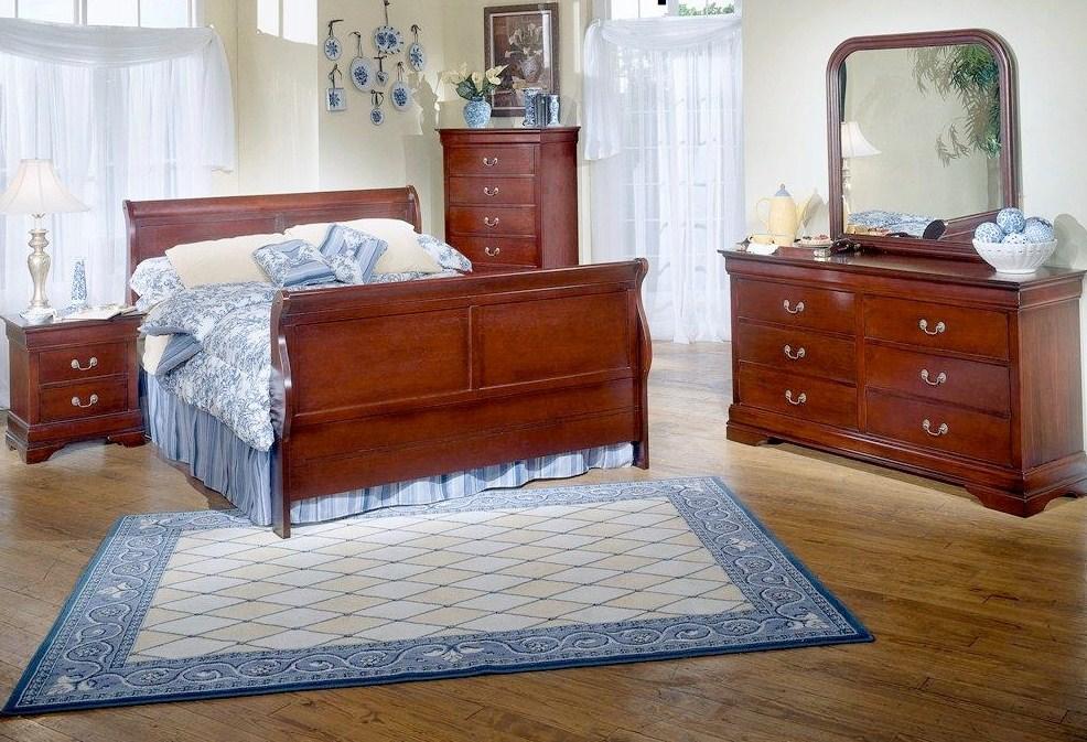 Cherry Sleigh Bed Set