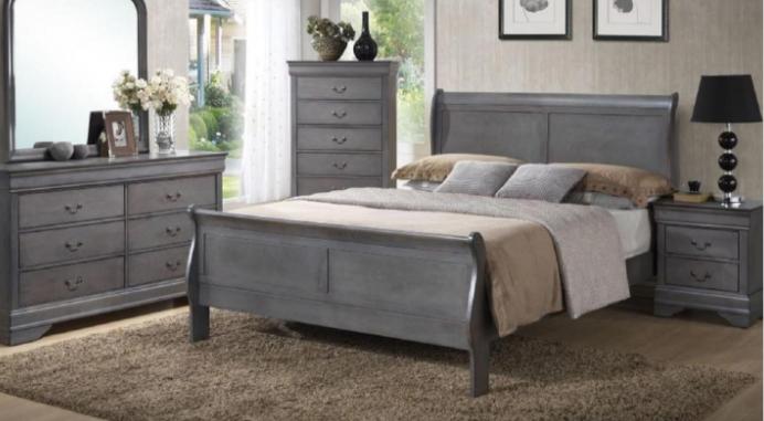 Grey Sleigh Bed Set
