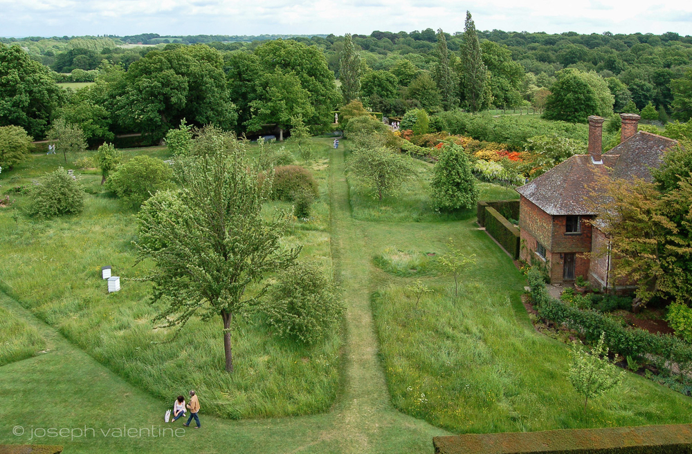 A series of mown paths cut through a section of the garden at Sissinghurst in England